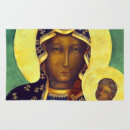 Virgin Mary Our Lady of Czestochowa Poland Black Madonna and Child Religion Christmas Gift Rug