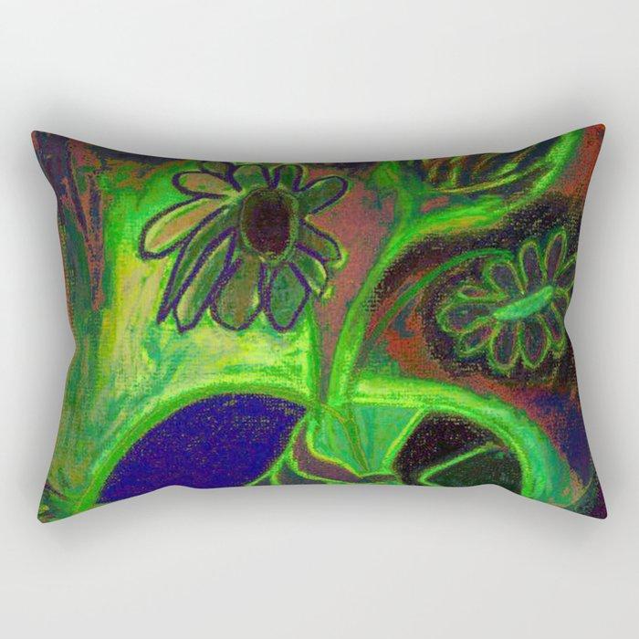 Blacklight Bouquet, Green Rectangular Pillow