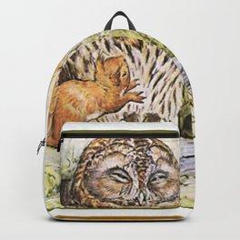 Squirrels tease a sleeping Owl Backpack