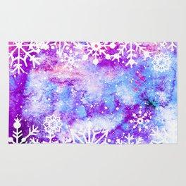 Purple Painted Merry Christmas Snowflakes Rug