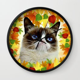 Funny Sad Autumn Cat Wall Clock