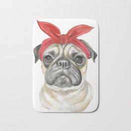 Pug with a Red Bandana Watercolor Bath Mat