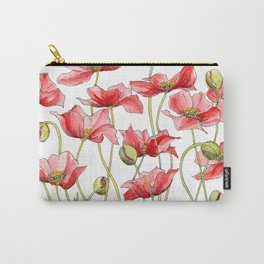Red Poppies, Illustration Carry-All Pouch