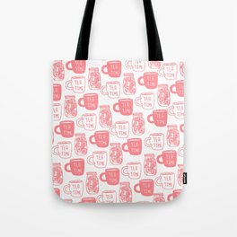 Abstract coral white tea cups modern typography Tote Bag