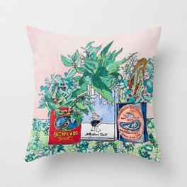 Jungle Botanical in Colorful Cans on Pink - Still Life Throw Pillow