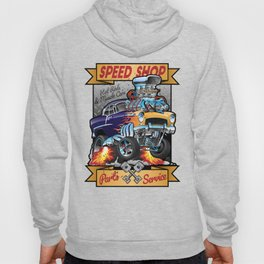 Speed Shop Hot Rod Muscle Car Parts and Service Vintage Cartoon Illustration Hoody