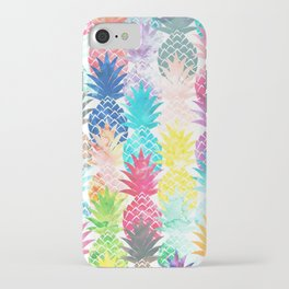 Hawaiian Pineapple Pattern Tropical Watercolor iPhone Case