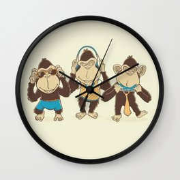 Triple Monkeys Wall Clock