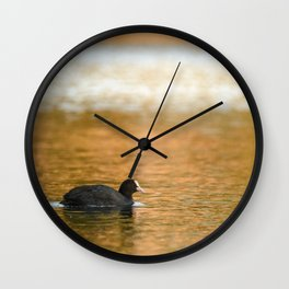 swimming trough gold Wall Clock