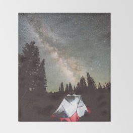 Camping Under the Milky Way Throw Blanket