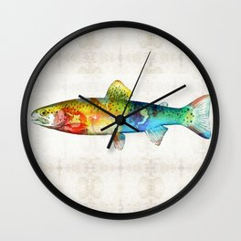 Rainbow Trout Art by Sharon Cummings Wall Clock