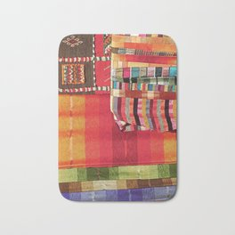 V27 Multi Colored Traditional Moroccan Lovely Textile Texture. Bath Mat