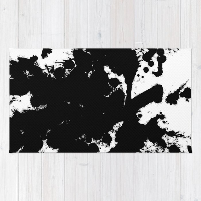 black and white splat abstract black paint splatter painting rug