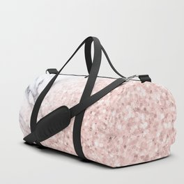 She Sparkles Rose Gold Pink Marble Luxe Geometric Duffle Bag