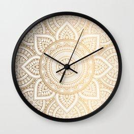 Gold Mandala Pattern Illustration With White Shimmer Wall Clock