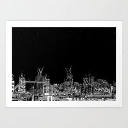 London skyline Night Stars Art Print