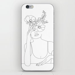 Minimal Line Art Woman with Flowers II iPhone Skin