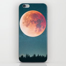 Blood Moon Over the Forest on a Starry Night iPhone Skin