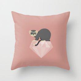 14 Ferret Diamond Throw Pillow