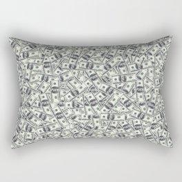 Giant money background 100 dollar bills / 3D render of thousands of 100 dollar bills Rectangular Pillow
