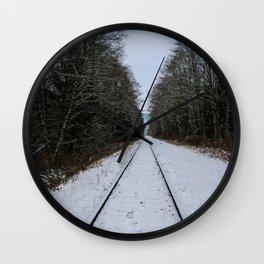 snowy tracks Wall Clock