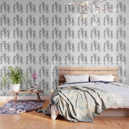 Eucalyptus Branches Black And White Wallpaper