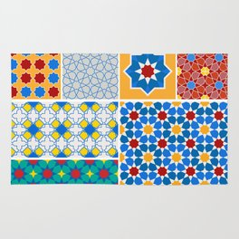 Moroccan pattern, Morocco. Patchwork mosaic with traditional folk geometric ornament. Tribal orienta Rug