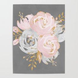 Night Rose Garden Gray Poster