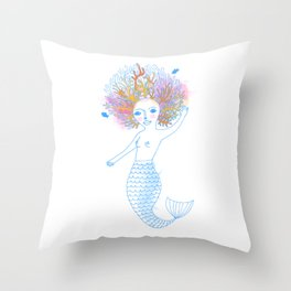 Coral the Mermaid Throw Pillow