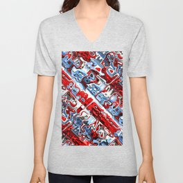 Red White And Blue Abstract Unisex V-Neck