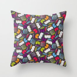 So Many Colorful Book... Throw Pillow