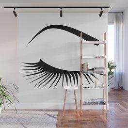 Closed Eyelashes Right Eye Wall Mural