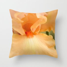 Bearded Iris Orange Harvest Throw Pillow