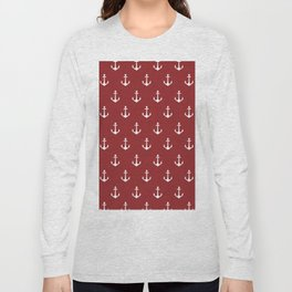 Maritime Nautical Red and White Anchor Pattern - Medium Size Anchors Long Sleeve T-shirt