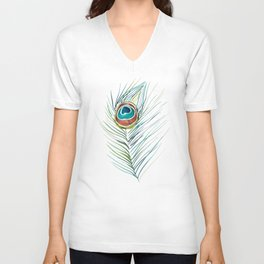 Peacock Tail Feather – Watercolor Unisex V-Neck