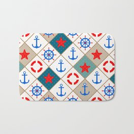 Nautical pattern . 1 Bath Mat