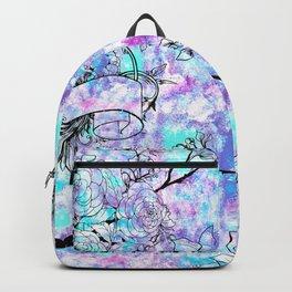 Vintage black bird flowers pink teal watercolor pattern Backpack