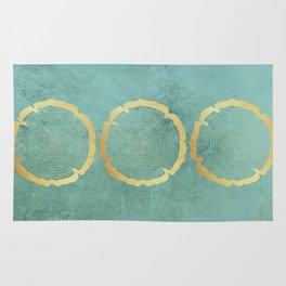 Gold Foil Tree Ring Rug