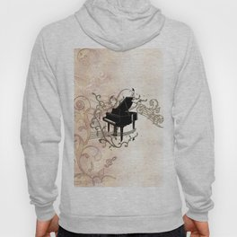 Music, piano with key notes and clef Hoody