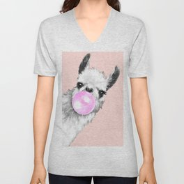 Bubble Gum Black and White Sneaky Llama in Pink Unisex V-Neck