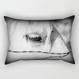 Horse's Eye: Black and White Photo Rectangular Pillow