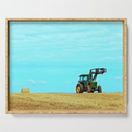 Tractor and Hay Roll on the Ridge Serving Tray