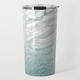 Calacatta Verde glitter gradient Travel Mug