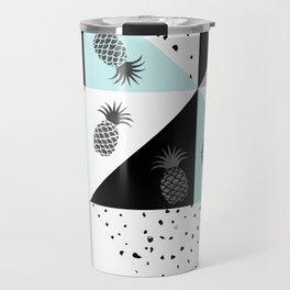 Teal black white dots pineapple geometrical color block Travel Mug