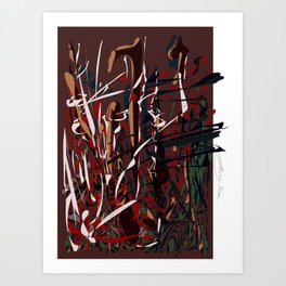 slip and fall (lathering it on) Art Print