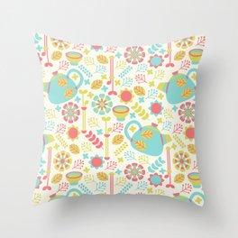 Green Tea Pattern Throw Pillow