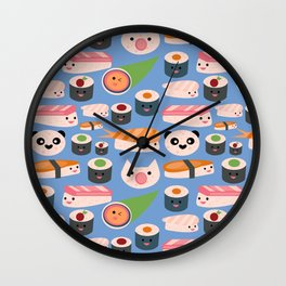 Kawaii sushi blue Wall Clock