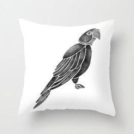 Perched Parrot – Black Palette Throw Pillow