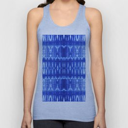 tie dye ancient resist-dyeing techniques Indigo blue textile abstract pattern Unisex Tank Top