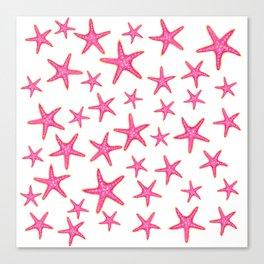 Summer pink neon watercolor gold starfish pattern Canvas Print